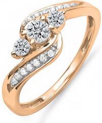 KLENOTA Diamantový zásnubní prsten z růžového zlata