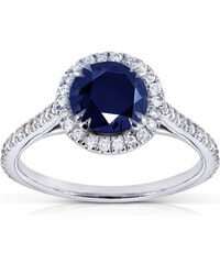 KLENOTA Safírový prsten s 50 diamanty