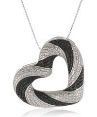 KLENOTA Přívěsek ve tvaru srdce s černými a bílými diamanty