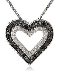 KLENOTA Dvoubarevný diamantový přívěsek ve tvaru srdce