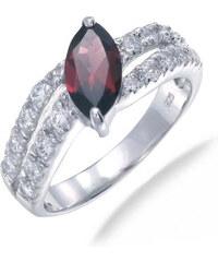 KLENOTA Granátový prsten ze stříbra se zirkony
