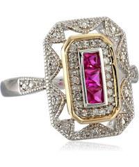 KLENOTA Pozlacený prsten s rubíny a diamanty