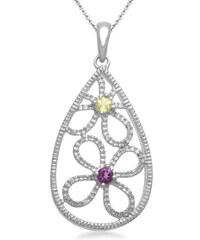 KLENOTA Přívěsek s ametystem, diamantem a peridotem