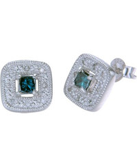 KLENOTA Stříbrné náušnice s modrým a bílým diamantem