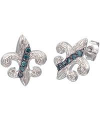 KLENOTA Stříbrné náušnice s modrými diamanty