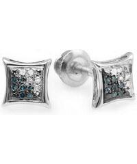 KLENOTA Dvoubarevné diamantové náušnice