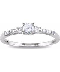 KLENOTA Stříbrný prsten se synetickými safíry a diamanty