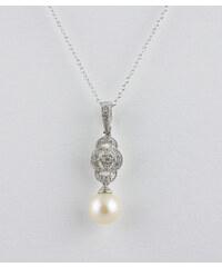KLENOTA Stříbrný přívěsek s perlou a diamanty