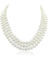 KLENOTA Trojřadý perlový náhrdelník, sladkovodní perly