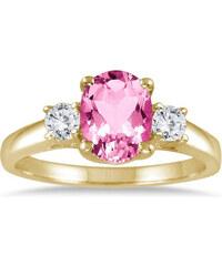 KLENOTA Zlatý prsten s růžovým topazem a diamanty