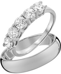 KLENOTA Snubní diamantové prsteny z bílého zlata