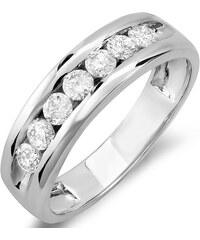 KLENOTA Pánský výroční prsten z bílého zlata