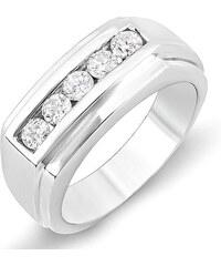 KLENOTA Pánský diamantový prsten z bílého zlata