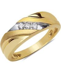 KLENOTA Zlatý pánský snubní prsten s diamanty