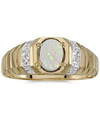 KLENOTA Dvoubarevný pánský prsten s opálem