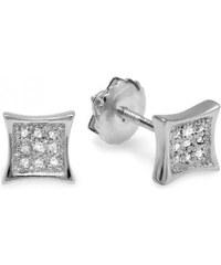 KLENOTA Pánské diamantové náušnice ze stříbra