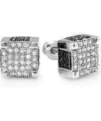 KLENOTA Stříbrné pánské diamantové náušnice