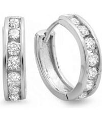 KLENOTA Pánské stříbrné náušnice s diamanty