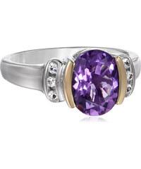 KLENOTA Stříbrný prsten s ametystem a bílými topazy