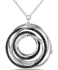 KLENOTA Stříbrný přívěsek s černými a bílými diamanty