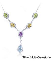 KLENOTA Barevný drahokamový náhrdelník ze stříbra