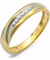 KLENOTA Pozlacený pánský prsten s diamanty