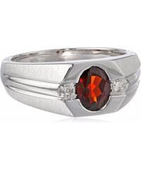 KLENOTA Pánský stříbrný prsten s granátem a diamanty