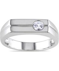 KLENOTA Pánský prsten s bílým safírem
