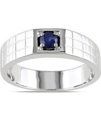 KLENOTA Pánský prsten s modrým safírem