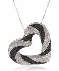KLENOTA Stříbrný diamantový přívěsek ve tvaru srdce