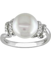 KLENOTA Prsten se sladkovodní perlou a diamanty