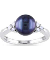 KLENOTA Stříbrný prsten s černou perlou a diamanty