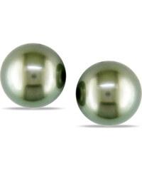 KLENOTA Perlové náušnice pecky, Tahitské perly