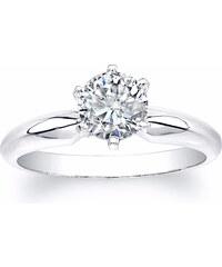 KLENOTA Luxusní zásnubní prsten z bílého zlata s briliantem