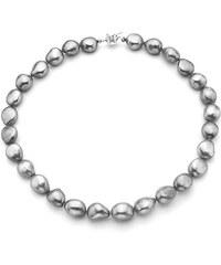 KLENOTA Perlový náhrdelník z šedých barokních perel