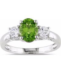 KLENOTA Stříbrný prsten s peridotem a syntetickými safíry