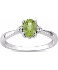 KLENOTA Elegantní peridotový prsten s diamanty