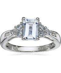 KLENOTA Akvamarínový prsten s topazy a diamanty
