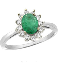 KLENOTA Smaragdový prsten s brilianty, bílé zlato