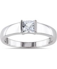 KLENOTA Stříbrný prsten se safírem pro muže