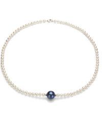 KLENOTA Bílý perlový náhrdelník s černou perlou