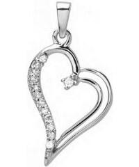 KLENOTA Stříbrné srdce s diamanty