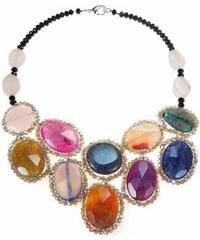 KLENOTA Stříbrný náhrdelník s acháty a krystaly