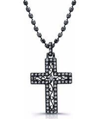 KLENOTA Diamantový křížek ze stříbra
