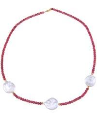 KLENOTA Rubínový náhrdelník s perlami, 14k zlato