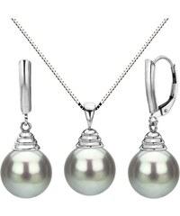 KLENOTA Perlová souprava, Tahitské perly a bílé zlato