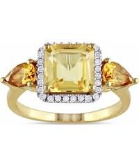 KLENOTA Koktejlový prsten s citríny a diamanty