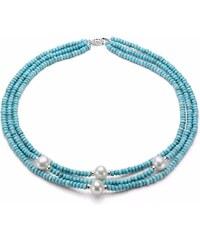KLENOTA Tyrkysový náhrdelník s perlami, zlato