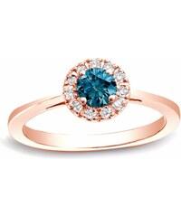 KLENOTA Zlatý prsten s bílými a modrým diamantem
