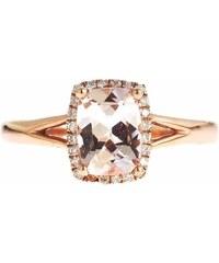 KLENOTA Zlatý prsten morganit a diamanty